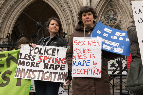Police spy protest outside Royal Courts of Justice London, UK