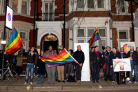 London Gay Men's Chorus protest with song on the streets of London, UK
