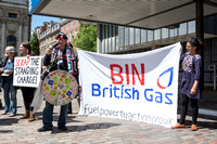 Protest outside British Gas Annual General Meeting, London UK